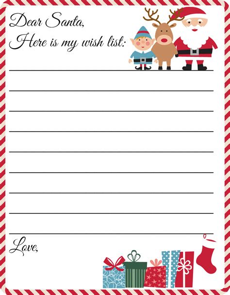printable letter  santa template cute christmas