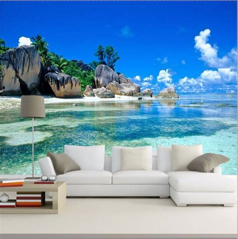 3d Wallpaper Mural Beach Stone Sea View Island Wall Paper