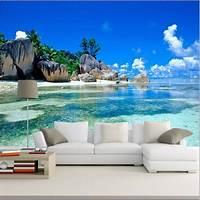 beach wall murals 3D Wallpaper Mural Beach Stone Sea View Island Wall Paper ...