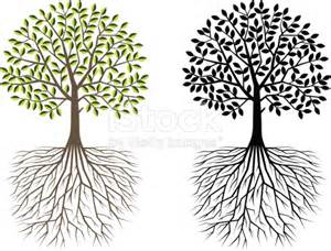 Tree with Roots Silhouette Clip Art
