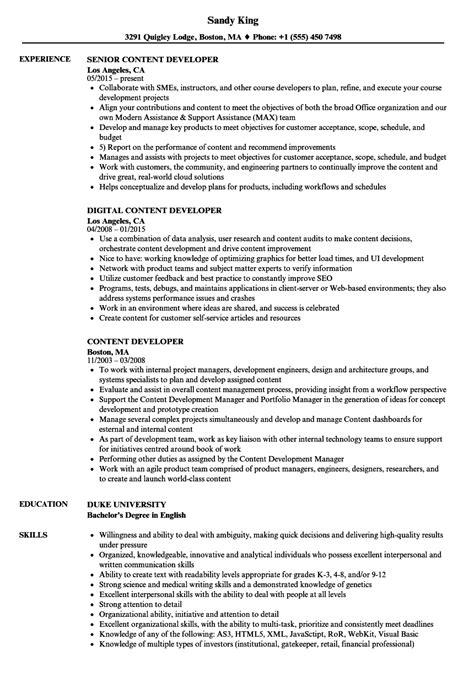 content developer resume sles velvet