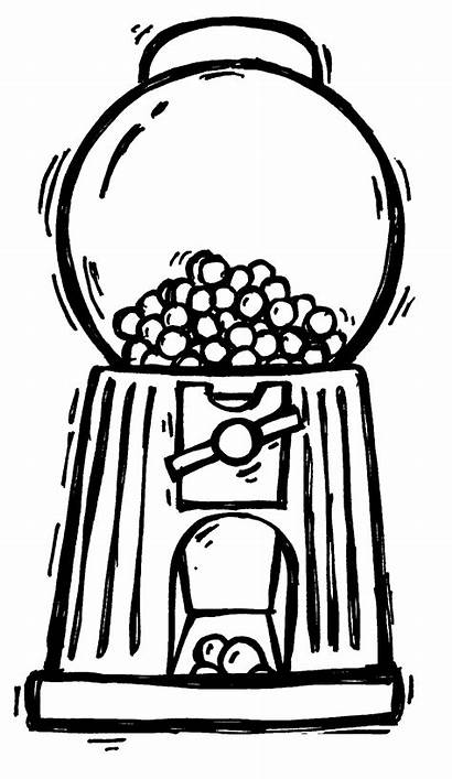 Machine Gum Clipart Bubble Gumball Coloring Drawing