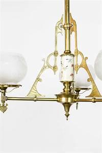 Antique Brass And Glass Pendant Light Sold Three Light Satsuma Aesthetic Movement Fixture