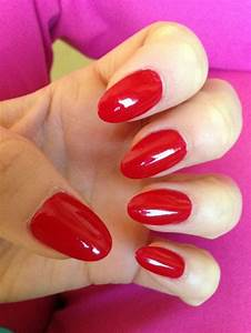 Million dollar red oval shape nails. | Pretty Claws | Red ...