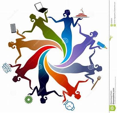 Activiteiten Activities Vrouwen Illustrated Isolated Connection Illustratie