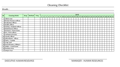 housekeeping checklist format  office  excel
