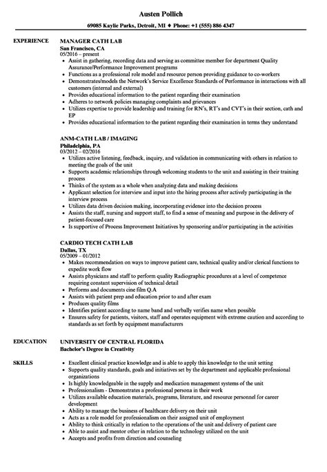 Cath Lab Tech Resume by Cath Lab Resume Sles Velvet