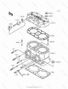 Kawasaki Jet Ski 1993 Oem Parts Diagram For Cylinder Head  U0026 Cylinder