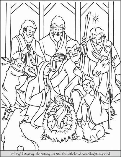 Coloring Joyful Rosary Mysteries Nativity 3rd Mystery