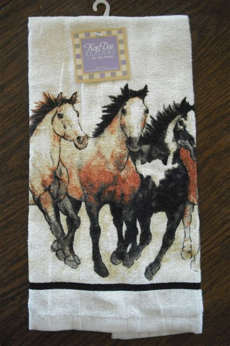 horse  western linens dish towels potholders oven