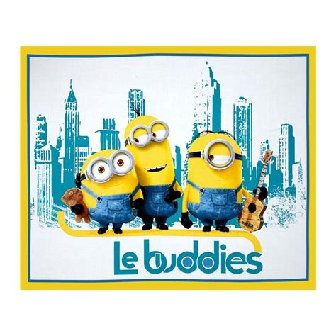 minions le buddies 36 in panel turquoise yellow discount designer fabric fabric com