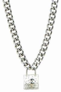 Chanel Clear Padlock Lock Necklace