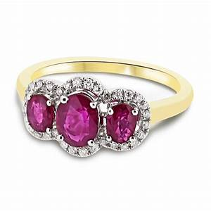 18ct yellow gold oval cut ruby and diamond halo vintage for Wedding rings with rubies and diamonds
