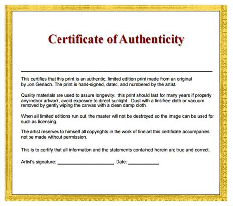 Certificate Of Authenticity Template by 16 Certificate Of Authenticity Sles Sle Templates