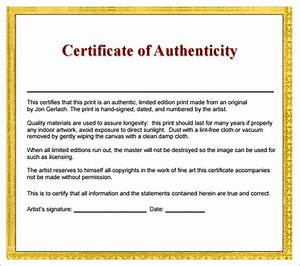 Certificate Of Authenticity Wording Printable Receipt