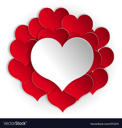 paper red hearts background  white heart vector image