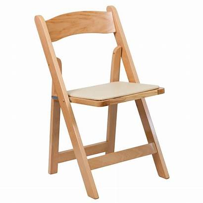 Wood Folding Chair Natural Furniture Seat Padded