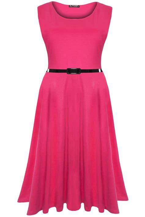 aqhalia plain flare midi dress womens plain belted flared franki dress swing midi