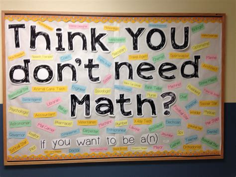 Middle School Math Bulletin Board  Think You Don't Need