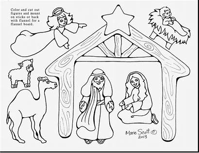 Nativity Christmas Coloring Scene Pages Printable Manger