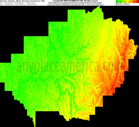 braxton county west virginia topo maps elevations
