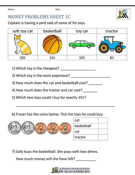 money worksheets for grade
