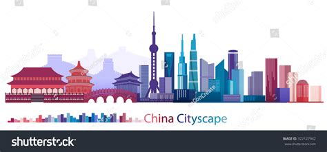 vector design eps10 colorful building and city of china