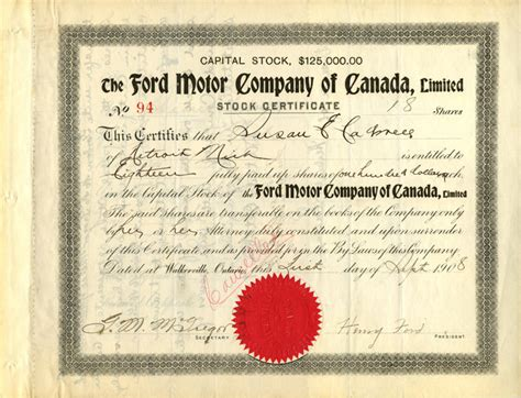 Ford Motor Company Of Canada, Limited Signed By Henry Ford