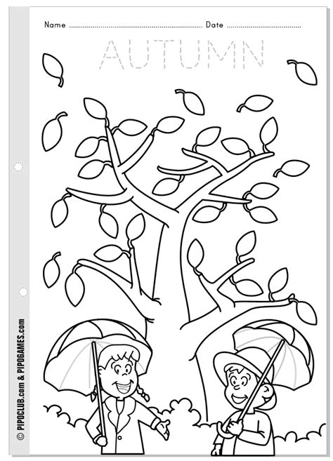 worksheet about autumn for from pipo s coloring