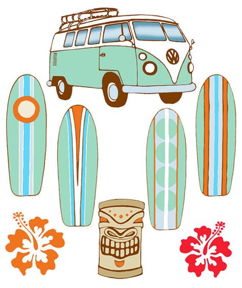 volkswagen van with surfboard surfboard baby mobile volkswagon bus and by flyingtrees on