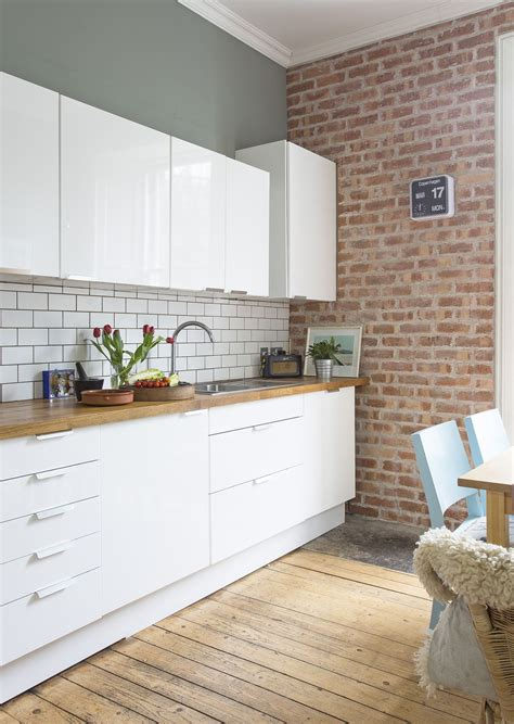 exposed brick kitchen backsplash white gloss modern kitchen exposed brick wooden 7104