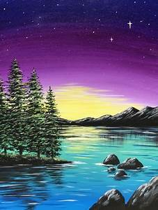 Business Carads Learn To Paint Teal Lake Twilight