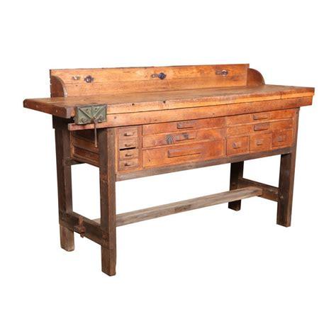 original vintage american  oak work bench  vice