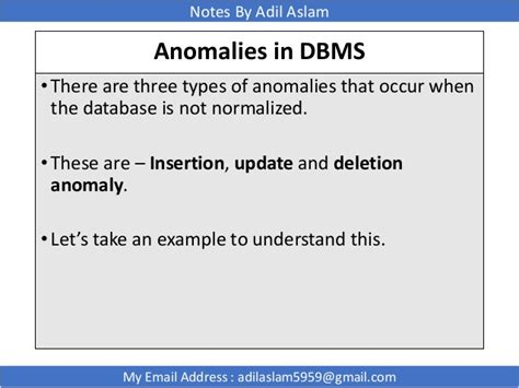 Modification Anomalies In Database by Relational Database Management System