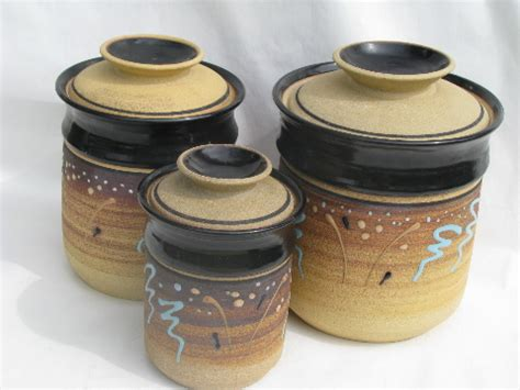 stoneware kitchen canisters vintage unglazed stoneware pottery kitchen canisters retro earth colors