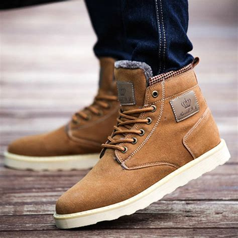 Man Warm Boots Suede Leather Martin Ankle For Men