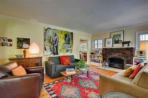 1001 jolies images d39interieurs a deco boheme With tapis oriental avec canapé en cuir rouge