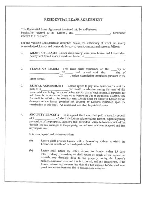 printable residential lease form generic