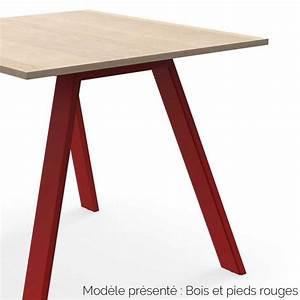 Table En Acier : table haute rectangulaire ou carr e en bois et acier personnalisable ~ Teatrodelosmanantiales.com Idées de Décoration