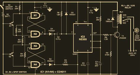 automatic switch  staircase light circuit schematic