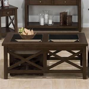 Coffee table with 2 nesting ottomans in xavier birch 482c 1 for Coffee table with nested ottomans
