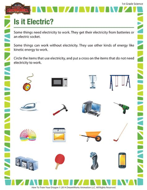 1st grade science worksheets out is it electric our