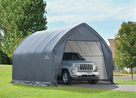 shelterlogic garage   box high arch  storage sheds