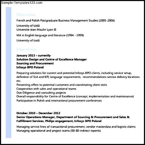 sle resume for bpo experienced sle templates