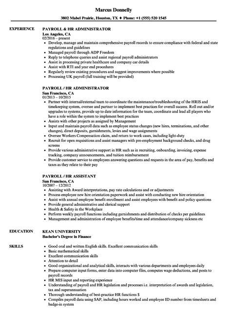 Hr Payroll Resume by Payroll Hr Resume Sles Velvet