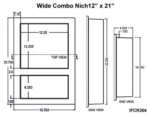 preformed double recessed shower niche 14 x 21 ready to