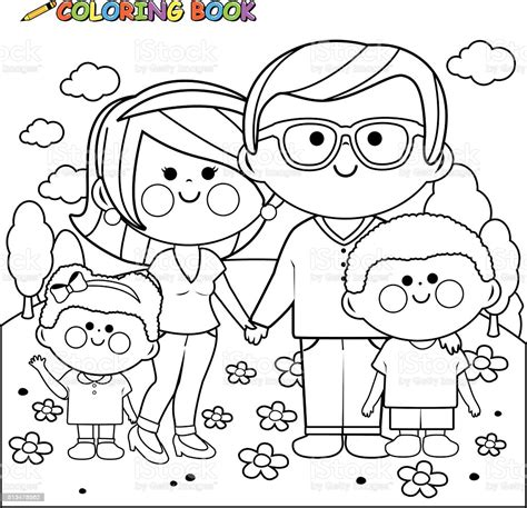 Happy Family At The Park Coloring Book Page Stock