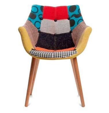 chaise design assise tissu patchwork multi couleur