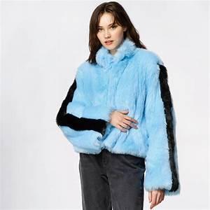 Blå fuskpäls jacka