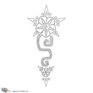 Aztec Flowers Tattoo Stencil